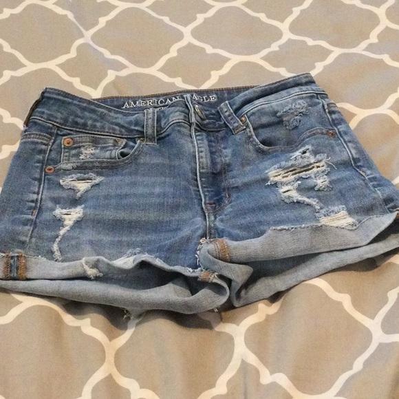 Weathered denim shorts